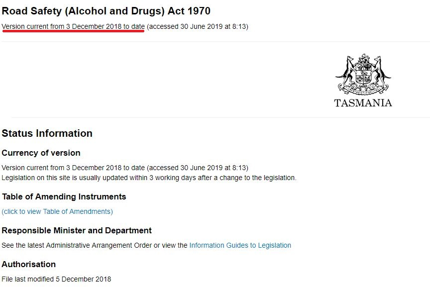Road Safety (Alcohol and Drugs) Act 1970 冒頭