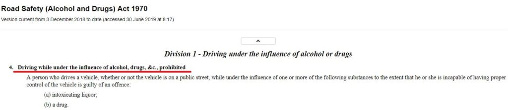 Road Safety (Alcohol and Drugs) Act 1970 Division 1